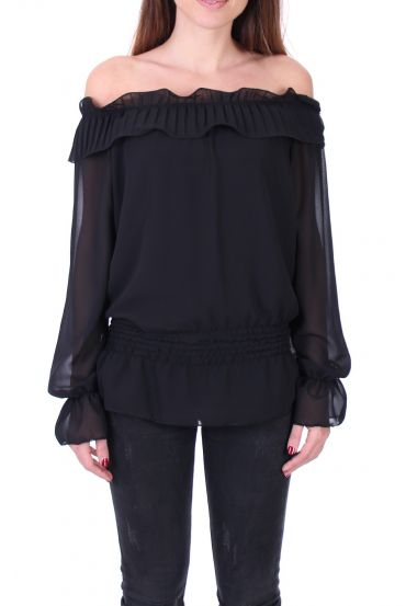 BLOUSE SHOULDERS DENUDEES 0503 BLACK