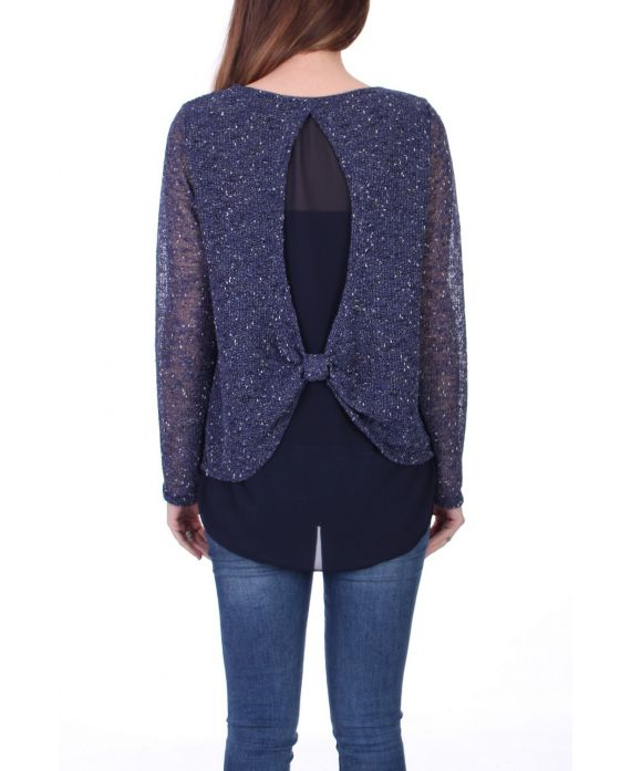 SWEATER 2 IN 1 BACK VALLEY 0517 BLUE, NAVY BLUE