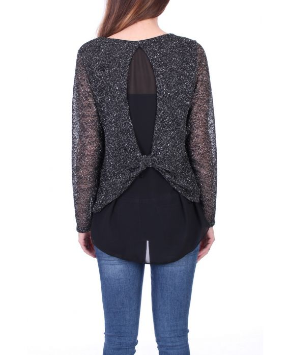 SWEATER 2 IN 1 BACK VALLEY 0517 BLACK