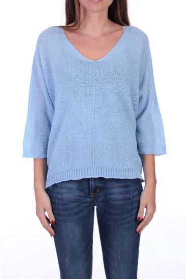 KNIT PULLOVER V-NECK 0521 SKY BLUE