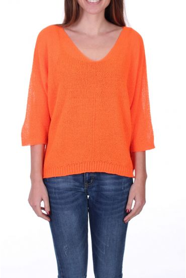 KNIT PULLOVER V-NECK 0521 ORANGE FLUO