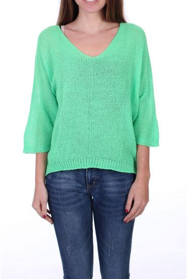 KNIT PULLOVER V-NECK 0521 NEON GREEN
