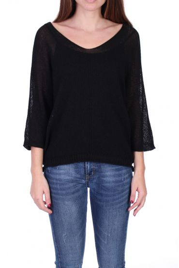 KNIT PULLOVER V-NECK 0521 BLACK