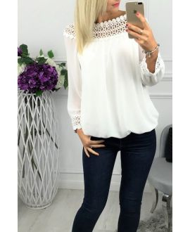 BLOUSE NECKLINE LACE 0518 WHITE
