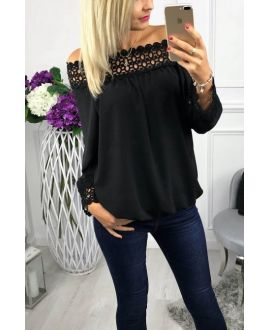 BLOUSE NECKLINE LACE 0518 BLACK