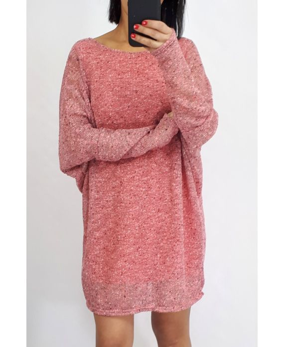 SWEATER, LONG-0512 CORAL