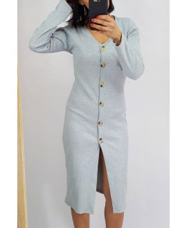 DRESS HAS BUTTONS 0513 GREY