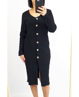 DRESS HAS BUTTONS 0513 BLACK