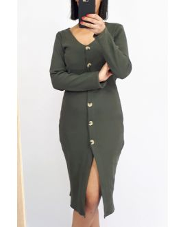 DRESS HAS BUTTONS 0513 MILITARY GREEN