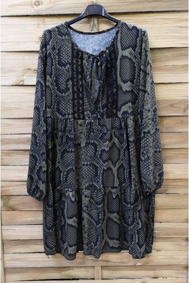 DRESS 0207 REPTILE KHAKI