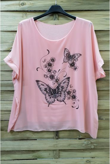 LARGE SIZE TOP BUTTERFLY RHINESTONE 0583 ROSE