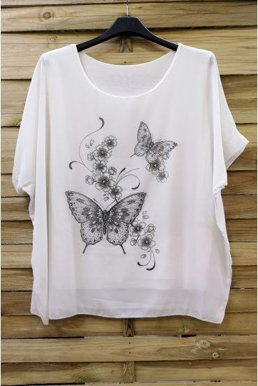 LARGE SIZE TOP BUTTERFLY RHINESTONE 0583 WHITE