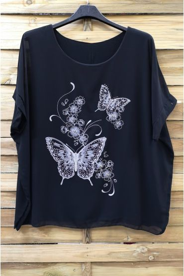 LARGE SIZE TOP BUTTERFLY RHINESTONE 0583 BLACK