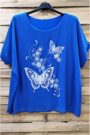 LARGE SIZE TOP BUTTERFLY RHINESTONE 0583 ROYAL BLUE