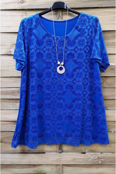 LARGE SIZE LACE TOP + NECKLACE 0588 ROYAL BLUE