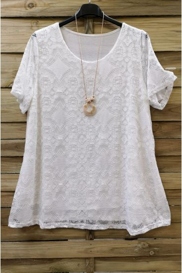 LARGE SIZE LACE TOP + NECKLACE 0588 WHITE