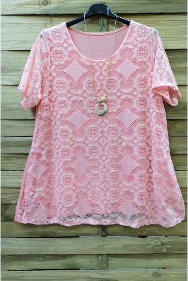LARGE SIZE LACE TOP + NECKLACE 0588 ROSE