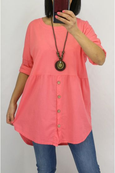 TUNIC BUTTONS + COLLAR 0589 CORAL