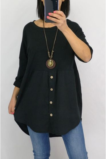 TUNIC BUTTONS + COLLAR 0589 BLACK