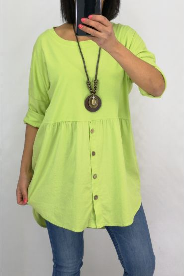 TUNIC BUTTONS + COLLAR 0589 GREEN ANISE
