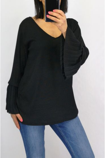 SWEATER SLEEVES PLISSEES 0519 BLACK