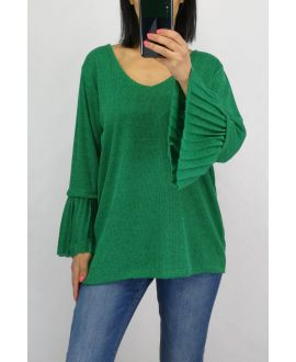 PULL MANCHES PLISSEES 0519 VERT