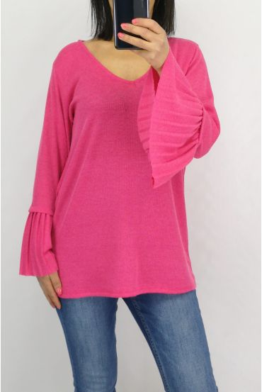 SWEATER SLEEVES PLISSEES 0519 FUCHSIA