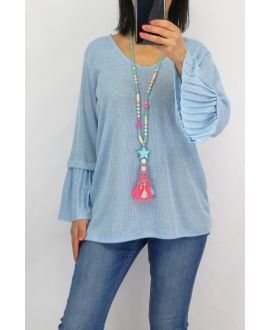 SWEATER SLEEVES PLISSEES 0519 SKY BLUE
