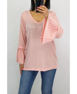 PULL MANCHES PLISSEES 0519 ROSE