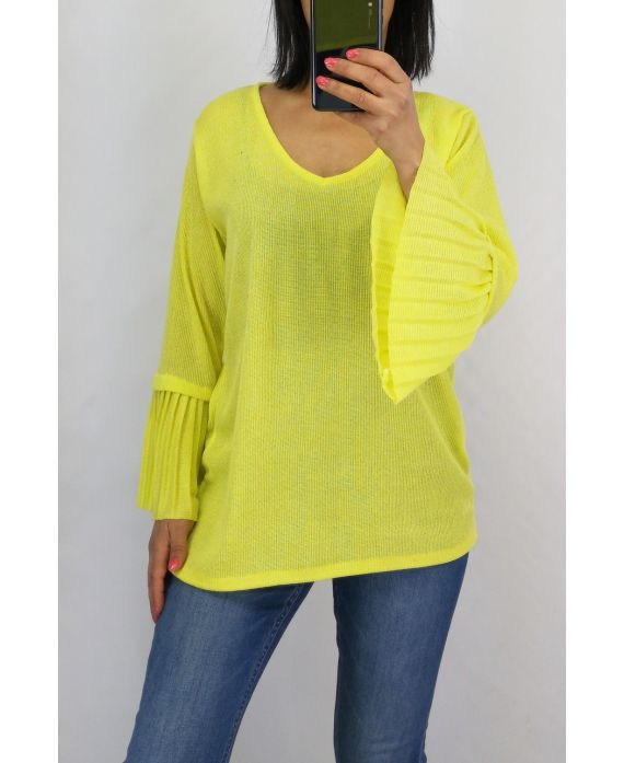 SWEATER SLEEVES PLISSEES 0519 YELLOW