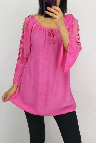 TUNIC SHOULDERS LACE 0601 FUSHIA
