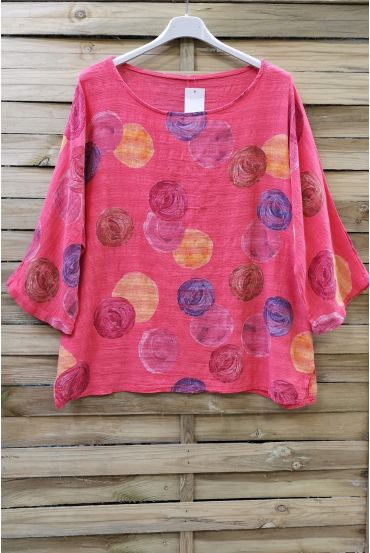 TUNIC PRINTED COTTON 0610 CORAL