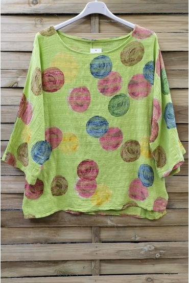 TUNIC PRINTED COTTON 0610 GREEN ANISE