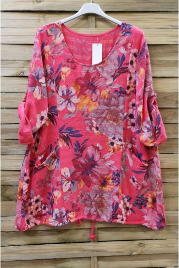 LARGE SIZE TUNIC EFFECT LINEN PRINTED 0611 CORAL