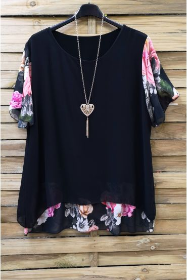 LARGE SIZE TUNIC CLOAKING SUPERPOSEE + NECKLACE 0608 BLACK