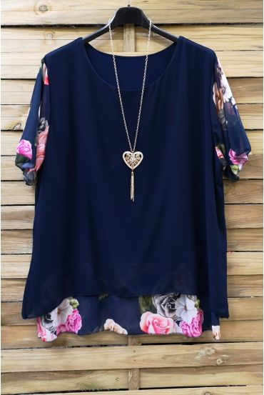 LARGE SIZE TUNIC CLOAKING SUPERPOSEE + NECKLACE 0608 NAVY BLUE