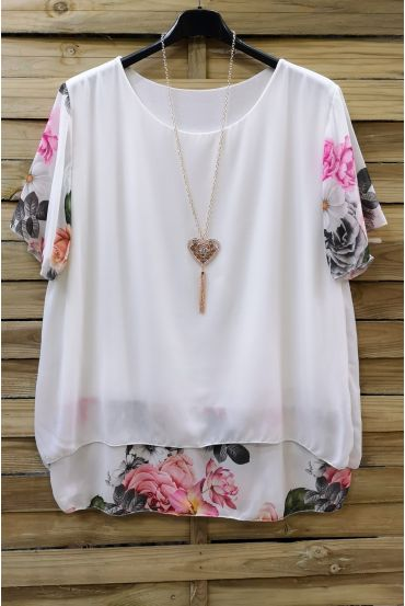 LARGE SIZE TUNIC CLOAKING SUPERPOSEE + NECKLACE 0608 WHITE