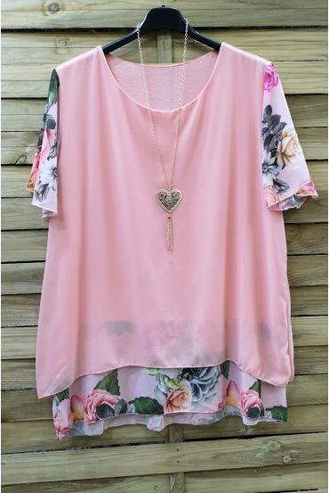 LARGE SIZE TUNIC CLOAKING SUPERPOSEE + NECKLACE 0608 PINK