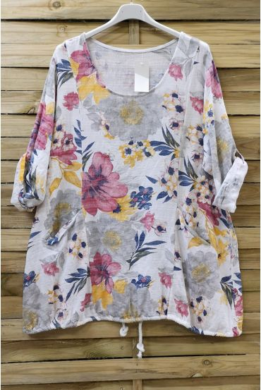 LARGE SIZE TUNIC EFFECT LINEN PRINTED 0611 WHITE