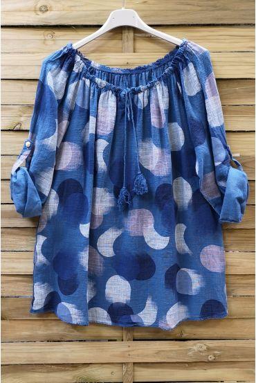TUNIC COTTON PRINTED 0619 BLUE