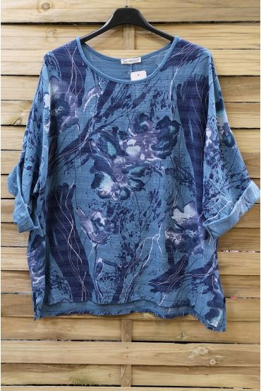 TUNIC BAGGY EFFECT LIN 0629 BLUE