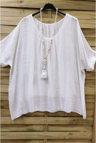 LARGE SIZE TOP COTTON DOUBLE 0638 WHITE