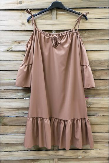 STRAPLESS GOWN HAS TIE 0643 CAMEL