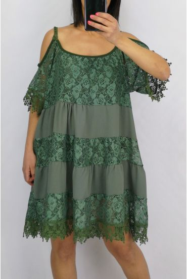 TUNIC LACE BOHEMIENNE 0642 MILITARY GREEN