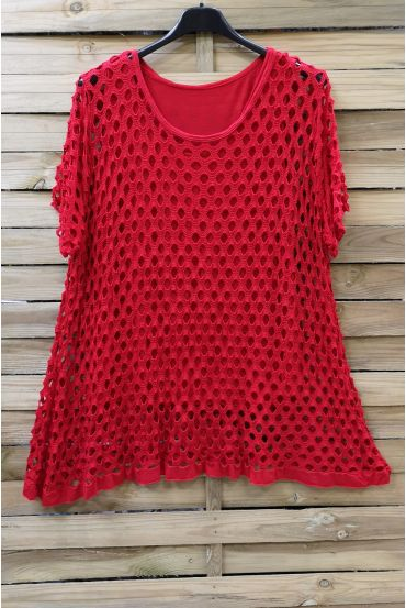 LARGE SIZE TOP AJOURE 2 PICES 0640 RED