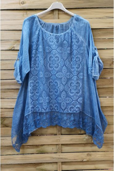 LARGE SIZE TUNIC TOP LACE 0660 BLUE