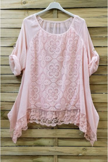 LARGE SIZE TUNIC TOP LACE 0660 PINK