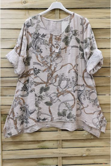 TUNIC LOOSE-FITTING PRINTED 0657 BEIGE