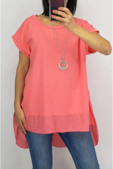 TUNIC BI-MATTER + NECKLACE 0651 CORAL