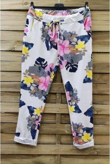PANTS JOGG 0665 WHITE FLOWERS